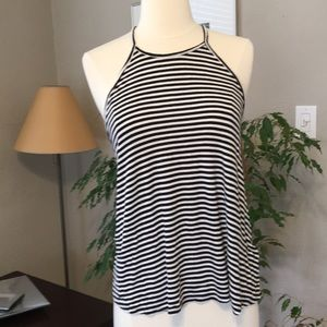 Old Navy High Neck Black White Striped Jersey Tank